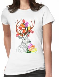 Deer with Flowers Womens Fitted T-Shirt