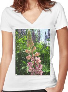 Lovely Lupins Women's Fitted V-Neck T-Shirt