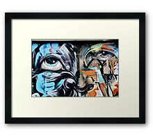 Abstract Graffiti Face on the textured brick wall Framed Print