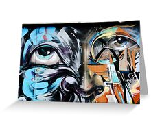 Abstract Graffiti Face on the textured brick wall Greeting Card