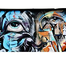 Abstract Graffiti Face on the textured brick wall Photographic Print