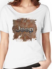Rustic Jeep with chrome typograph Women's Relaxed Fit T-Shirt