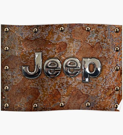 Rustic Jeep with chrome typograph Poster