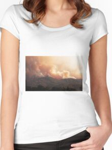 Black Bart Wildfire near Lake Mendocino Women's Fitted Scoop T-Shirt