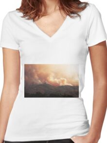 Black Bart Wildfire near Lake Mendocino Women's Fitted V-Neck T-Shirt