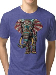 Ornate Elephant (Color Version) Tri-blend T-Shirt