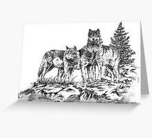 Wolf Ridge Timber Wolf Illustration Greeting Card