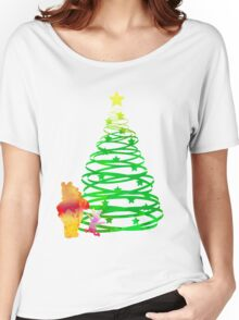 Christmas Bear and Pig Inspired Silhouette Women's Relaxed Fit T-Shirt