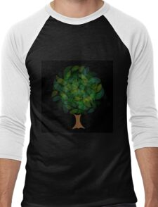 Tree with leaves in shades of green Men's Baseball ¾ T-Shirt