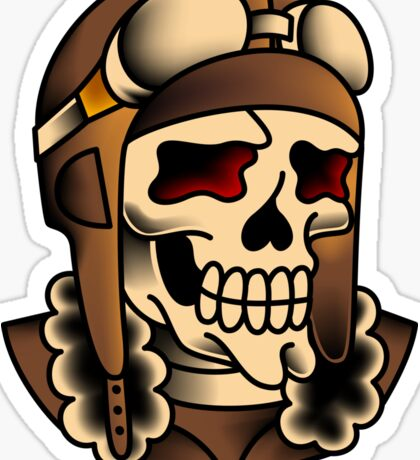 Kamikaze Fighter Pilot Skull Sticker