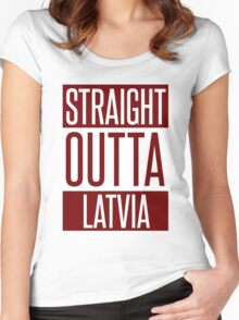 STRAIGHT OUTTA LATVIA Women's Fitted Scoop T-Shirt