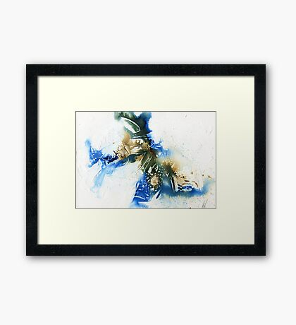 Sepia and cyan abstract  Framed Print