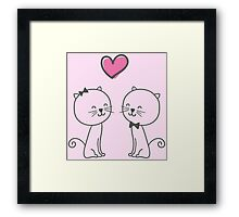 Cute Cats in Love Illustration Framed Print
