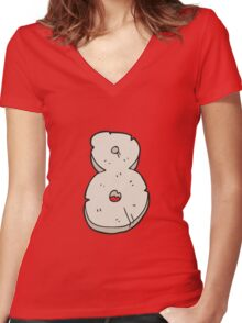 cartoon stone number eight Women's Fitted V-Neck T-Shirt