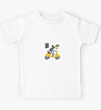 Business man Is Busy With Riding Bike Kids Tee