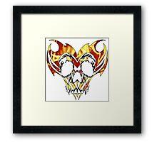 flaming tribal skull Framed Print