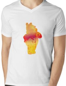 Bear Inspired Silhouette Mens V-Neck T-Shirt