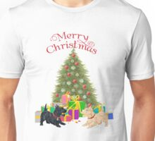 Wheaten and Black Scottish Terriers at Christmas Unisex T-Shirt