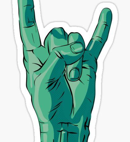 Teal Rock&Roll Hand Sticker