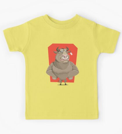 Angry Bull with Nose Piercing Vector Artwork Kids Tee