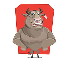 Angry Bull with Nose Piercing Vector Artwork Photographic Print