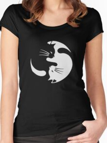 Yin Yang Cat Funny Women's Fitted Scoop T-Shirt