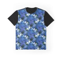 Abstract Blue And White Strokes Graphic T-Shirt