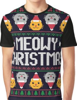 Ugly Christmas Sweater - Cat Graphic T-Shirt