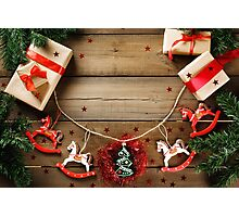 Christmas decorations in traditional red and green colors Photographic Print