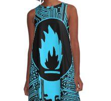 Cybergoth - Flammable (blue) A-Line Dress