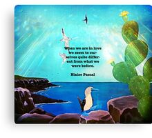 When We Are In Love Inspirational Quote With Blue Ocean Flying Birds Painting Canvas Print