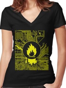 Cybergoth - Flammable (yellow) Women's Fitted V-Neck T-Shirt