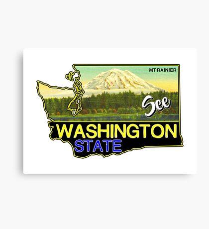 SEE WASHINGTON STATE MOUNT RAINIER NATIONAL PARK CASCADES VINTAGE TRAVEL Canvas Print