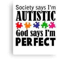 Autism Awareness Ribbon Mom black Canvas Print