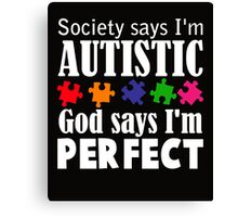 Autism Awareness Ribbon Mom white Canvas Print
