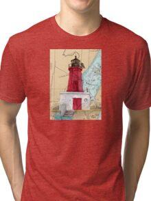 Menominee River Lighthouse MI Chart Cathy Peek Tri-blend T-Shirt