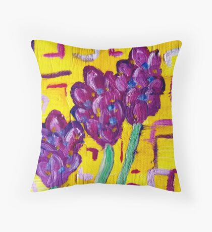Lavender Contemporary Oil Painting Throw Pillow
