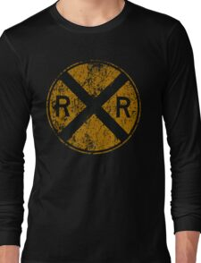 Distressed Railroad Crossing Sign Very Cool Vintage Long Sleeve T-Shirt