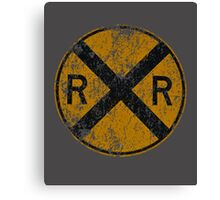 Distressed Railroad Crossing Sign Very Cool Vintage Canvas Print