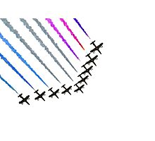 Red and blue fighter jets Photographic Print