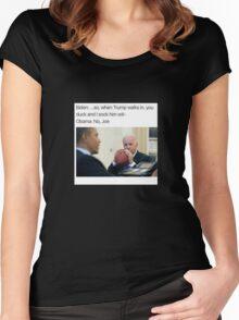 Joe Biden Funny Meme Obama T-Shirt Women's Fitted Scoop T-Shirt