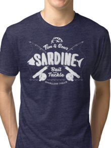 Tim and Sons Sardine Bait and Tackle Tri-blend T-Shirt