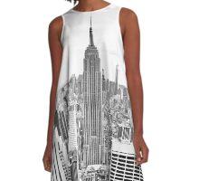 Manhattan, Empire State Building, New York City, I love NYC Skyline, Central Park, Rockefeller Center, Central Park, USA A-Line Dress
