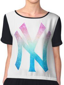 °BASEBALL° NY Yankees Rainbow Logo Chiffon Top