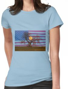 Patriotic Supermoon Tree Womens Fitted T-Shirt
