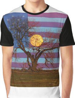 Patriotic Supermoon Tree Graphic T-Shirt