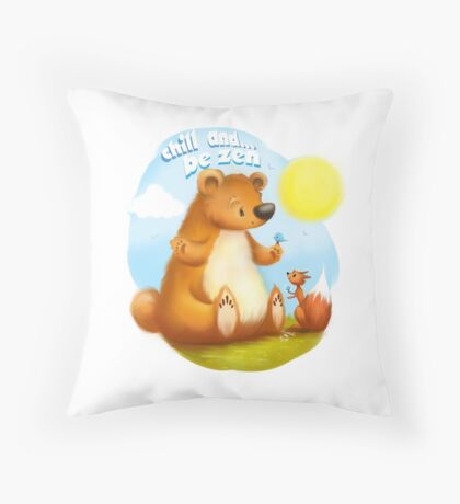 The Bear & the Squirrel - Chill & Be Zen Throw Pillow