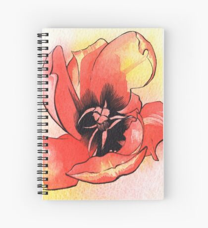 Bursting Red Tulip - Watercolour & Ink Spiral Notebook