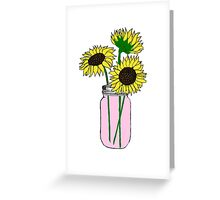 sunflowers in pink jar Greeting Card