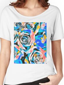 blue pink white and yellow roses Women's Relaxed Fit T-Shirt